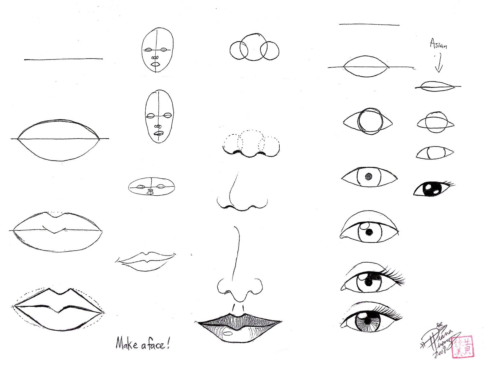 Scribble Drawing Face : Super basic draw face parts by ditroi g