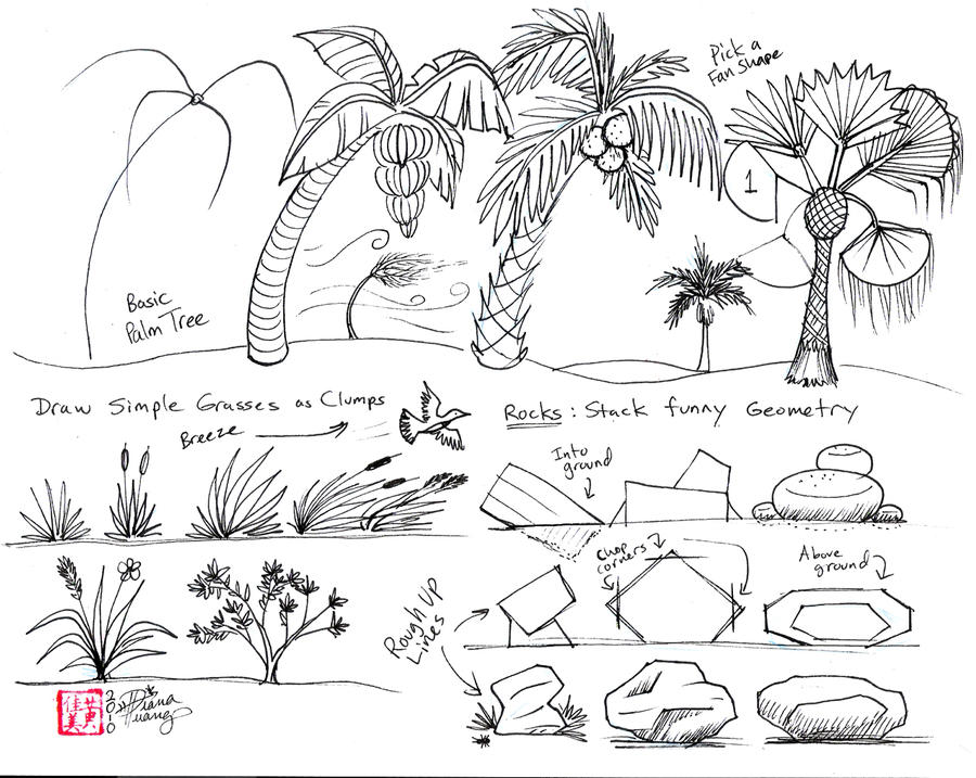 Leaves in Wind Drawing Draw Palms Grass Wind And Rock