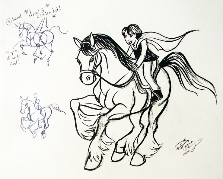 how to draw a person on a horse