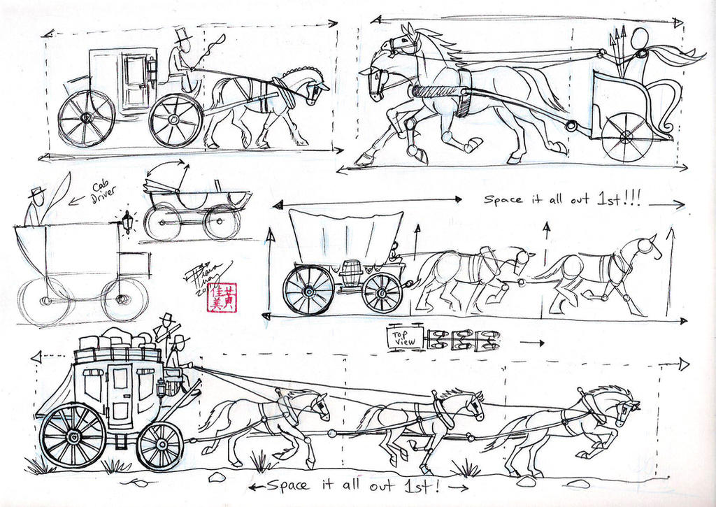 Horse And Carriage Drawing Draw Harnesses And Carriages
