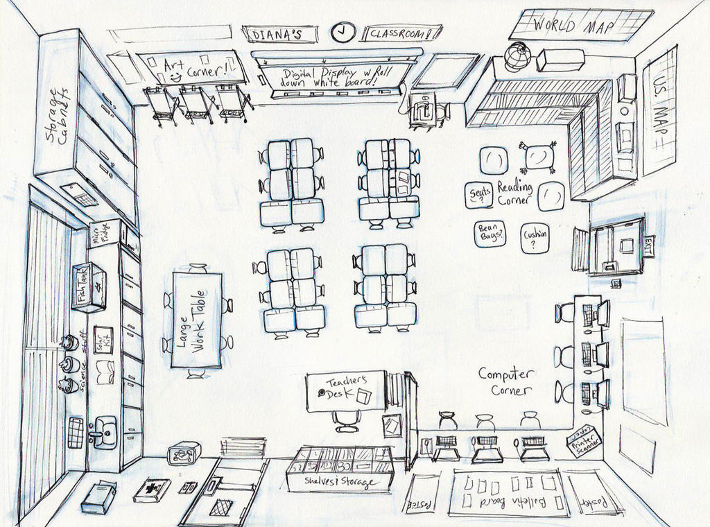 Classroom Design Sketch : My classroom design by diana huang on deviantart