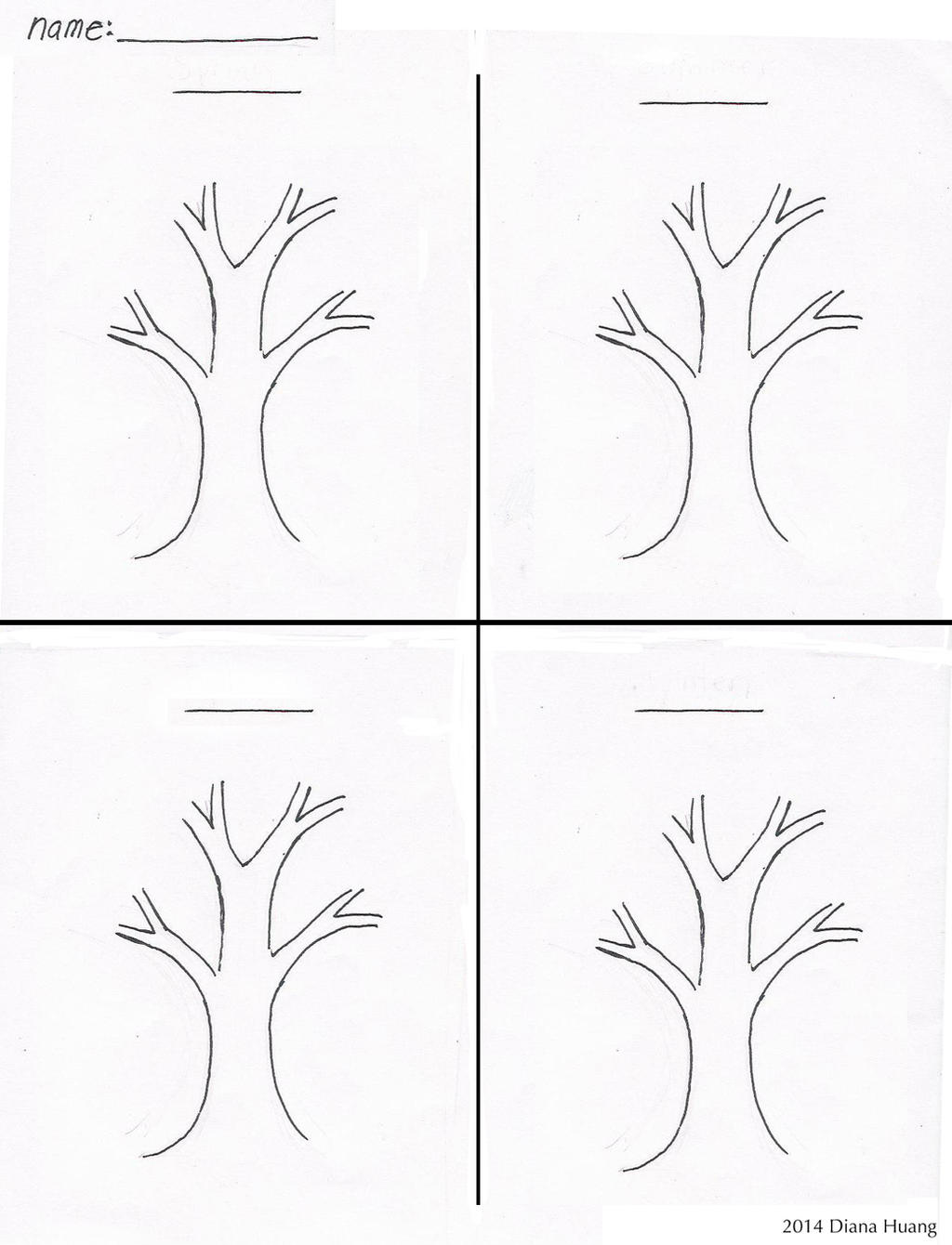 four seasons tree drawing template worksheet by diana huang on deviantart. Black Bedroom Furniture Sets. Home Design Ideas