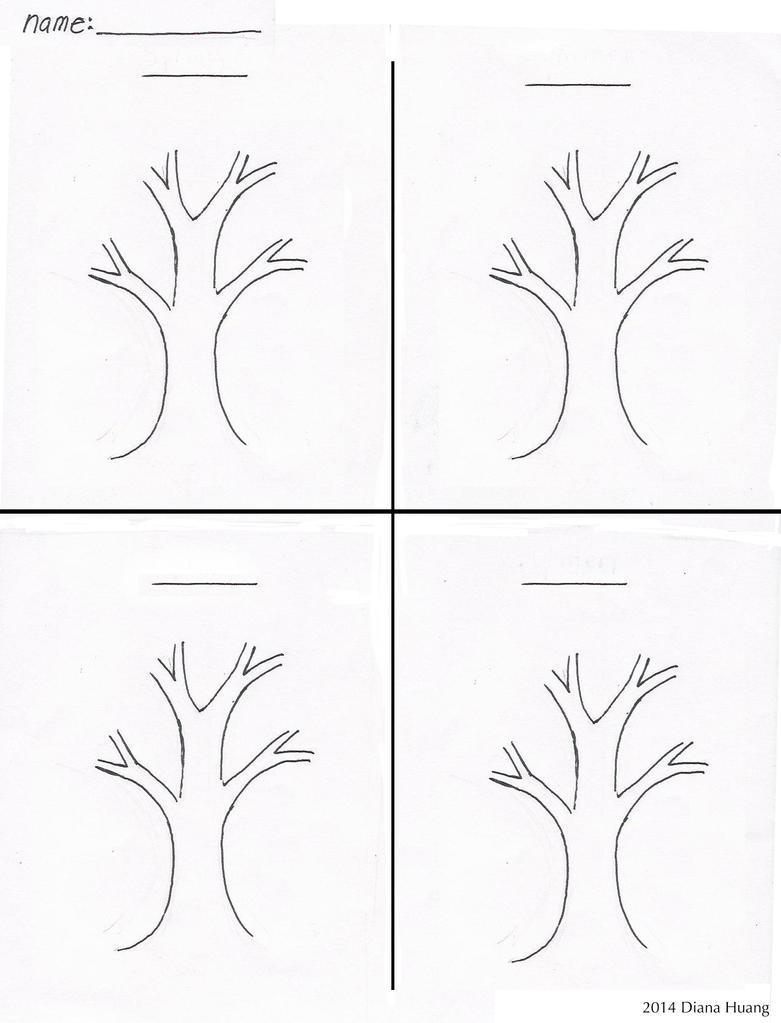 worksheet The Seasons Worksheet four seasons tree drawing template worksheet by diana huang on huang