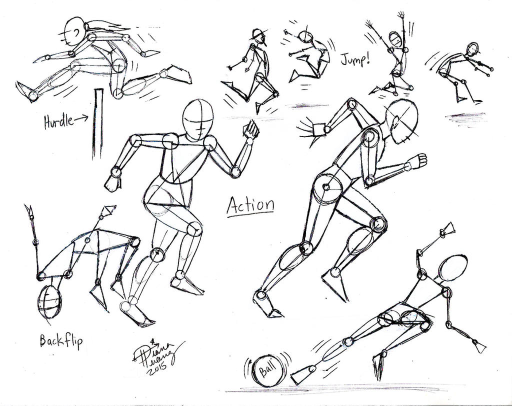 Line Art Action Photo : Draw more people in action by diana huang on deviantart