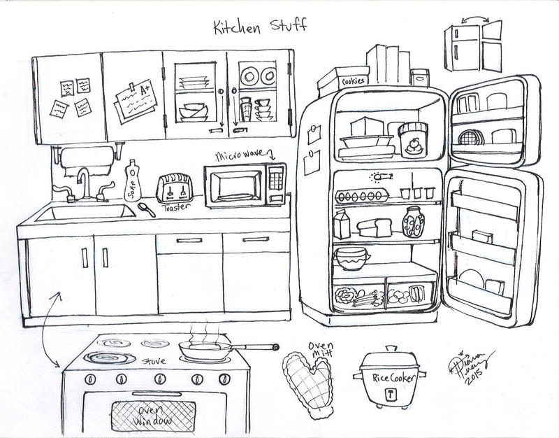 cartoon kitchen background black and white