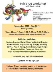 Irvine Art Workshop 2018-2019 Print advertisement