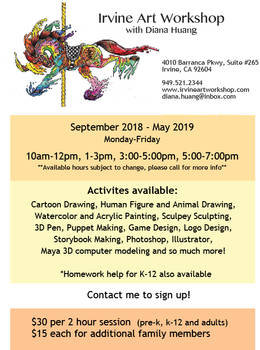 Irvine Art Workshop 2018-2019 Print advertisement