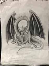 Reading Dragon Original Drawing