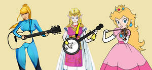 Zero Suit Samus, Zelda And Princess Peach Playing