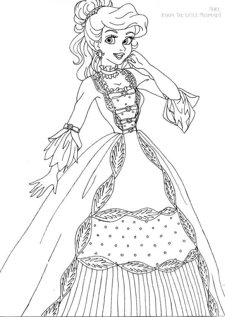 Disney Princess Coloring Pages Ariel In A Dress : Ariel deluxe gown lineart by ladyamber on deviantart