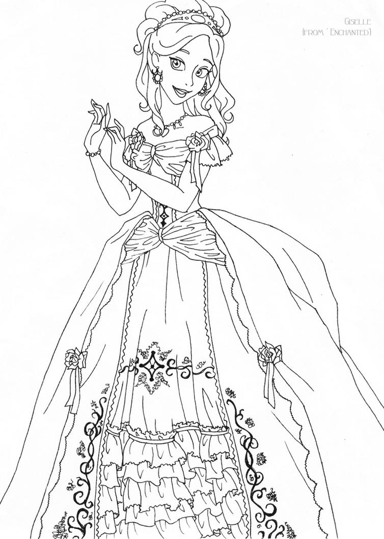 Princess giselle coloring pages - Color Art Deluxe Giselle Deluxe Gown Lineart By Ladyamber