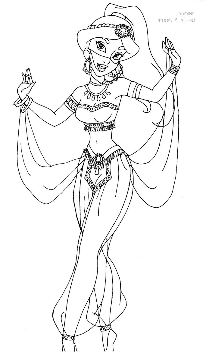 Jasmine deluxe gown lineart by ladyamber on deviantart for Coloring pages jasmine