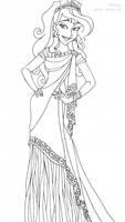 Megara deluxe gown lineart