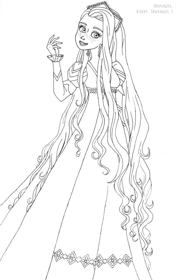 Rapunzel Lineart : Rapunzel deluxe gown lineart by ladyamber on deviantart