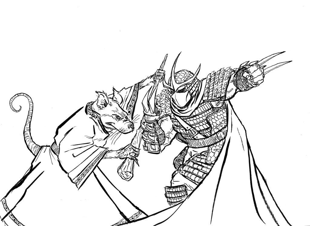 shredder coloring pages - splinter vs shredder by mardoza on deviantart