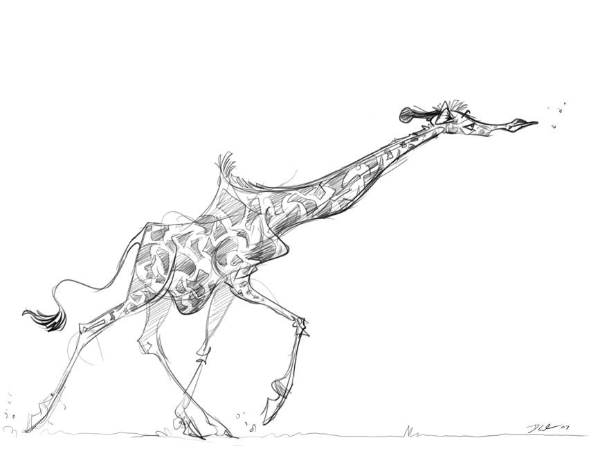 Cartoon Giraffe Tattoo Designs