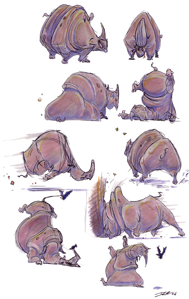 The Art Of Character Design With David Colman : Rhino character sketches by davidsdoodles on deviantart