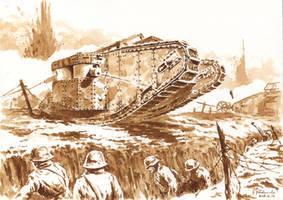 The MK I Tank in fight by Radomski