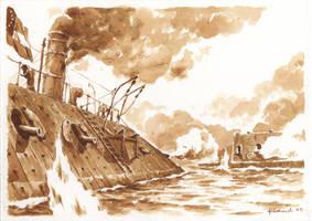 The Battle of Hampton Roads by Radomski