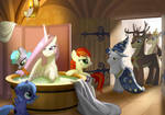 Celestia being prepared for the ceremony