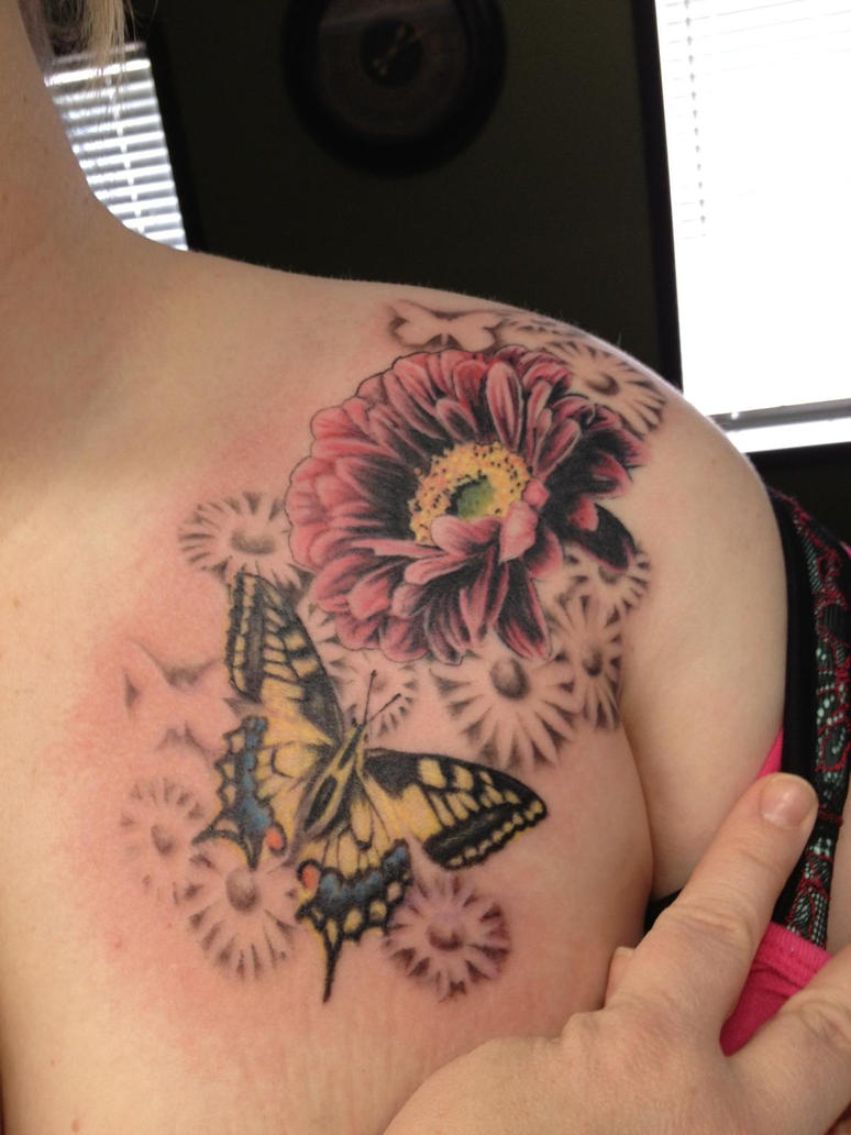 460123bc0 Gerbera Daisy with Butterfly by INK-SL1NG3R on DeviantArt