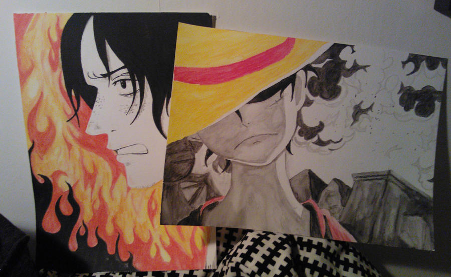 Ace and Luffy paintings by Matilzie