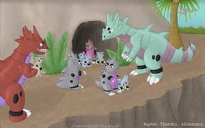 An Allosaurex Family by Chari-Artist
