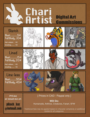 Chari's Commission Price Sheet 2018 by Chari-Artist