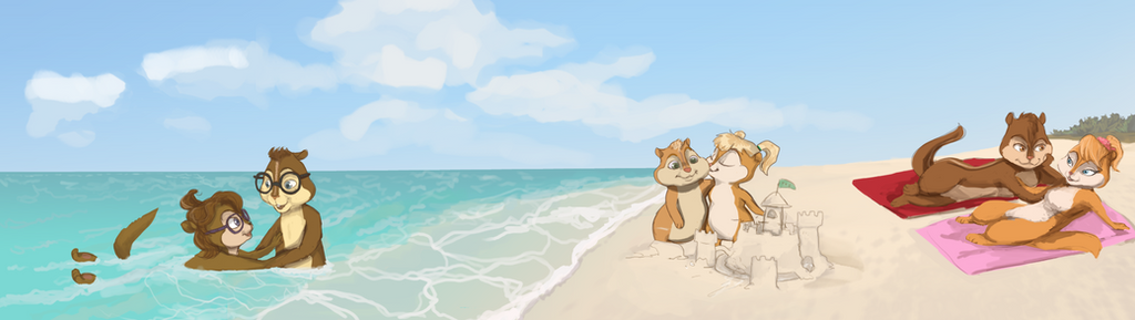 Commission: On the beach by ShazTheRaz