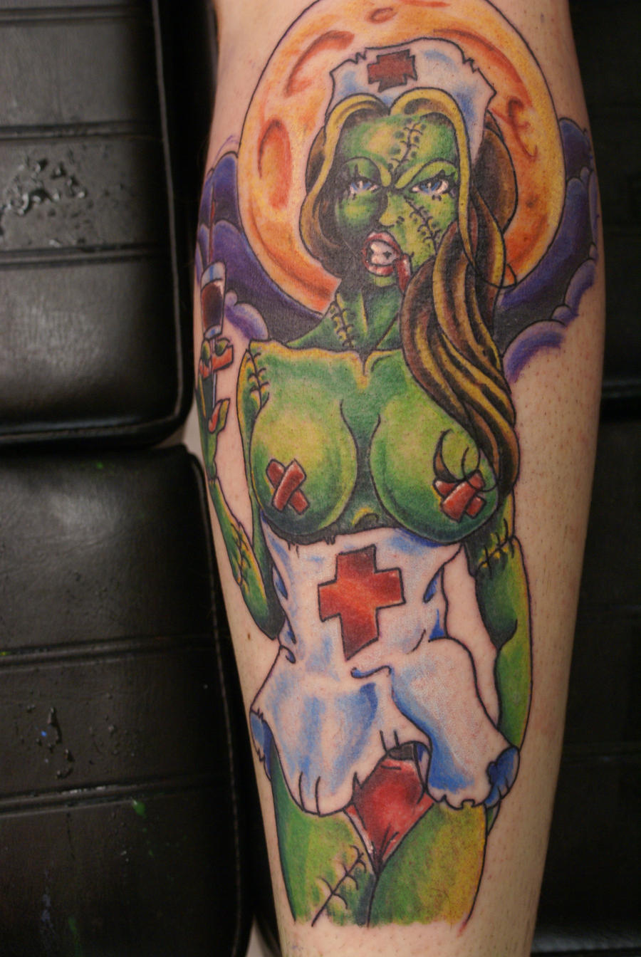 Zombie girl tattoo by