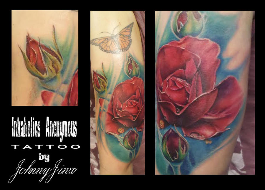 Color Realism Rose - dragonfly tattoo