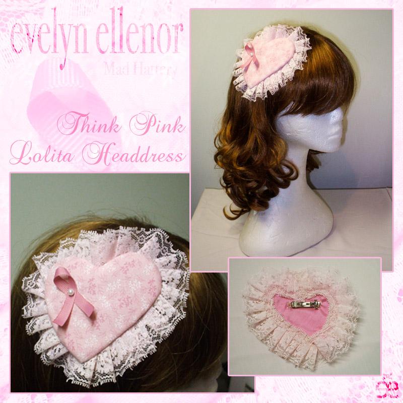 Think Pink Lolita Headdress by EveElle