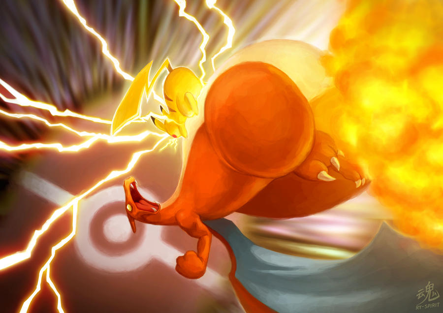 Pikachu vs Charizard by Ry-Spirit