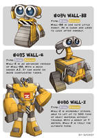 #034 WALL-BB - #035 WALL-E - #036 WALL-Z by Ry-Spirit