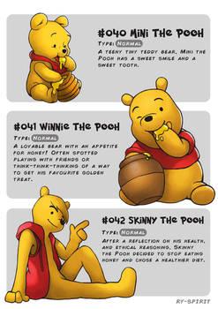 #40 Mini Pooh - #41 Winnie Pooh - #42 Skinny Pooh