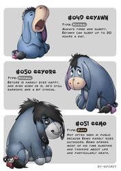 #049 Eeyawn - #050 Eeyore - #051 Eemo by Ry-Spirit