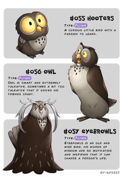 #055 Hooters - #056 Owl - #057 Eyebrowls