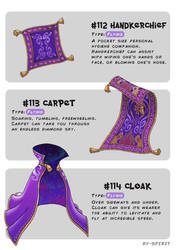 #112 Handkerchief - #113 Carpet - #114 Cloak by Ry-Spirit