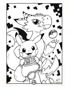 Commission: Pikachu x Dorumon