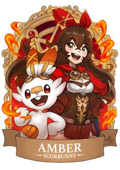 Genshin Pokemon Amber x Scorbunny