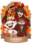 Genshin Pokemon Amber x Scorbunny by Ry-Spirit