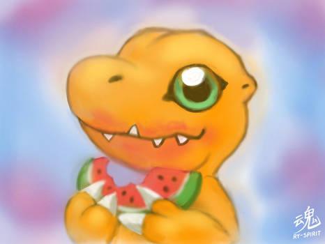 Agumon eating a Watermelon