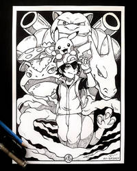 Red and Pokemon Inked Art