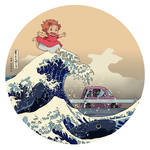 Hokusai on the Cliff by the Sea - T-shirt Design