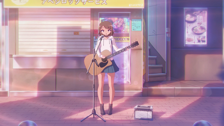 Minami playing in the street