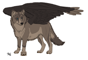 Winged wolf adoptable 1SOLD by NinjaPancake