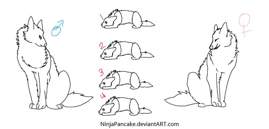 Wolf family lineart by NinjaPancake