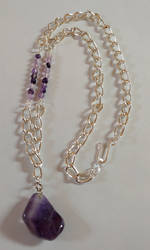 Amethyst Silver Chain Necklace by shadesingercreations