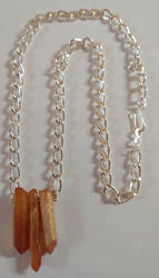 Electroplated Quartz Silver Chain Necklace by shadesingercreations