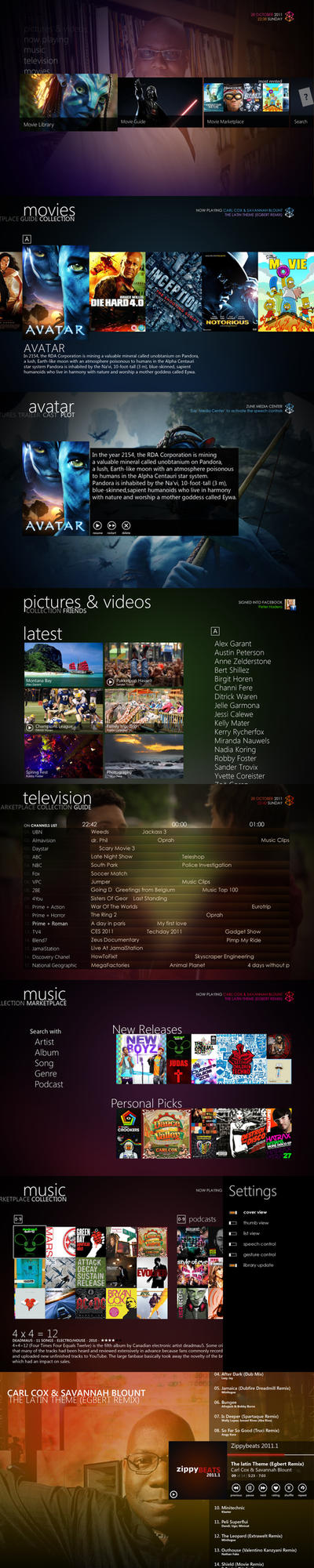Zune Media Center v2.7 by Bonkietje